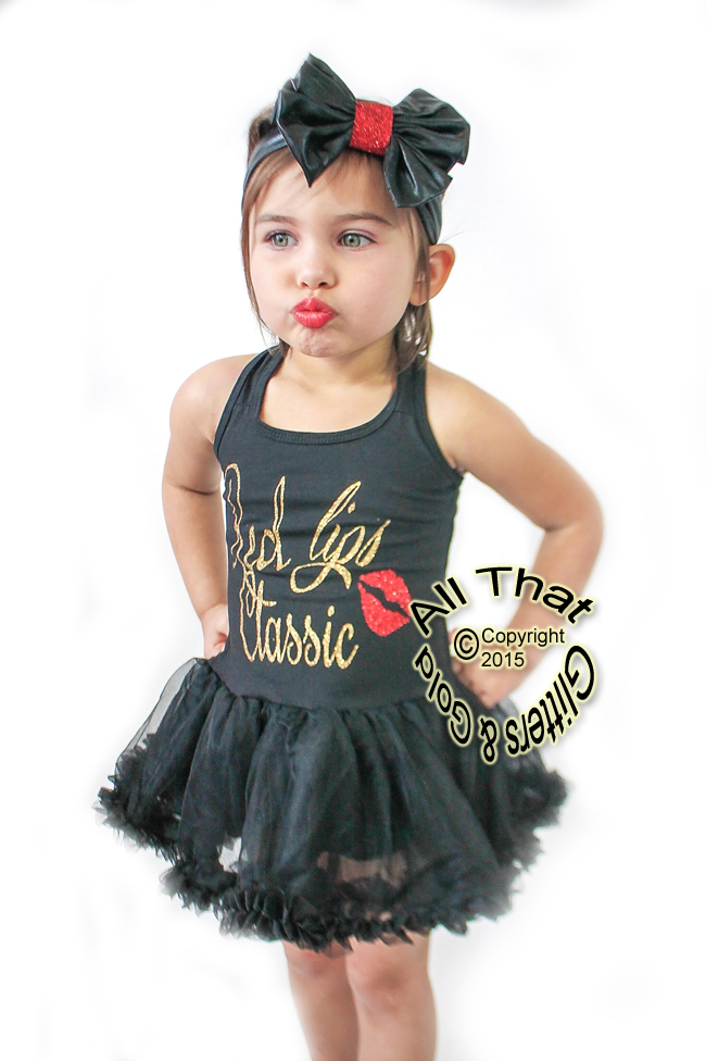 Glitter and Sparkly Red Lips Classic Tutu Dresses For Baby Girls