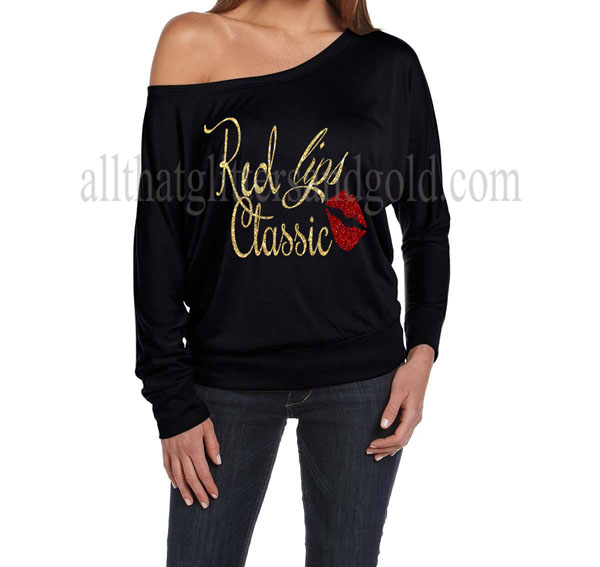 Cute Off The Shoulder Gold Glitter Red Lips Classic Shirts For Women