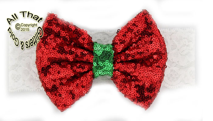 Christmas Headbands For Babies.Big Bow Girls Christmas Headbands Baby Little Girls White Lace Sequin Big Bow Holiday Headbands