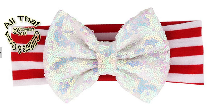Baby and Little Girls Red and White Striped Sequin 5 Inch Big Bow Christmas Headbands