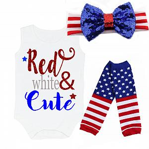 Red, White and Cute Glitter 4th of July Shirt or Outfit For Girls