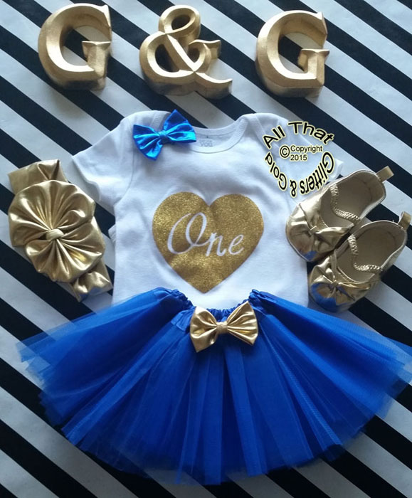 Royal Blue and Gold One In a Heart First Birthday Outfit With Royal Blue Tutu Skirt