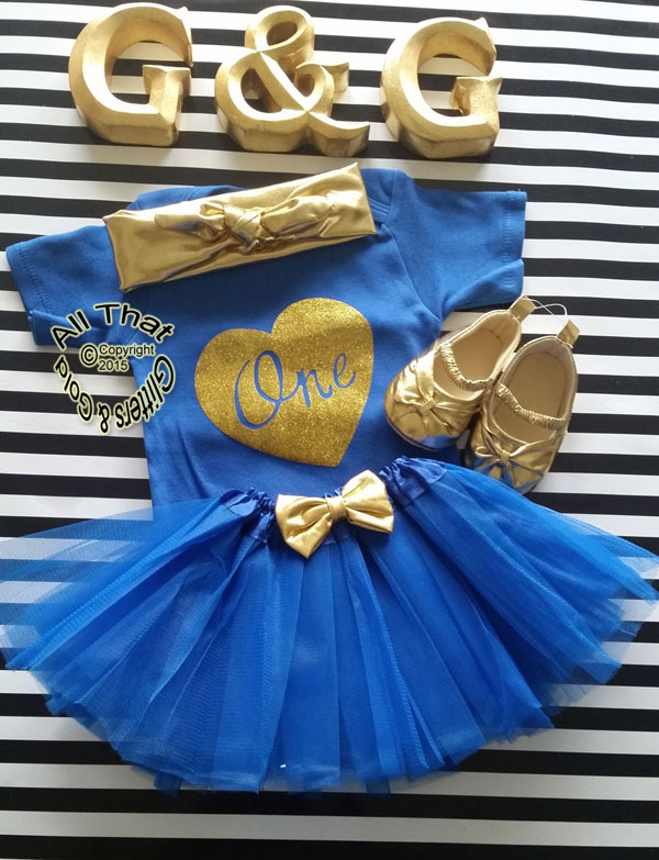 Royal Blue Gold One First Birthday Tutu Outfit