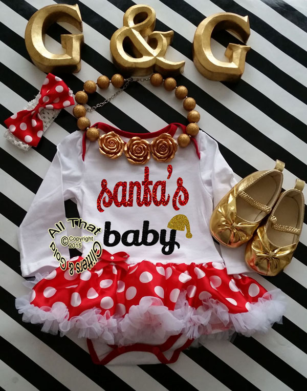 Cute 2 Piece Santa's Baby Christmas Glitter Baby Girl Tutu Dress Outfit