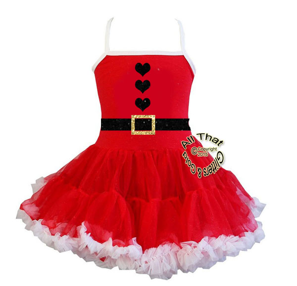 Black and Gold Glitter Santa Suit Christmas Tutu Dress For Little Girls