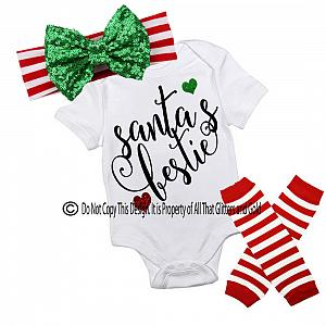 Glitter Santa's Bestie Handmade Christmas Outfit For Baby Girls and Little Girls