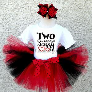 Black, Red and White Glitter Sassy Birthday Tutu Outfit For Ages 1-16
