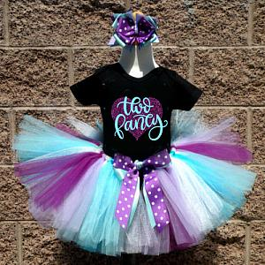 Black, Purple and Turquoise Glitter Two Fancy Birthday Tutu Outfit For Two Year Olds