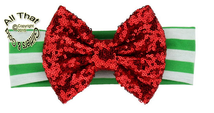 Baby and Little Girls Green and White Striped Red Sequin 5 Inch Big Bow Christmas Headbands