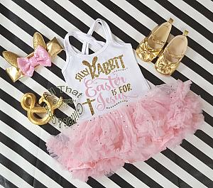 Pink and Gold Glitter 2pc Silly Rabbit Easter Is for Jesus Tutu Dresses For Toddler Girls Age 1-4