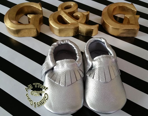Leather Silver Soft Soled Baby Fringe  Moccasin Shoes