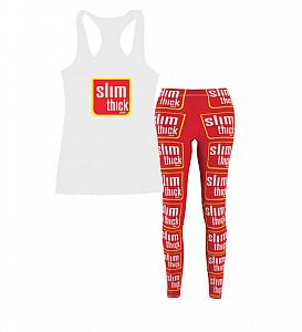 Slim Thick Tank Workout Outfit Set With Leggings For Juniors and Women