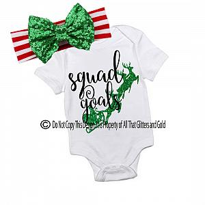 Glitter Squad Goals New Handmade Christmas Outfit For Baby Girls and Little Girls