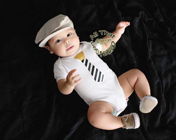Black and Gold Glitter Boy Tie Baby Boy Bodysuit