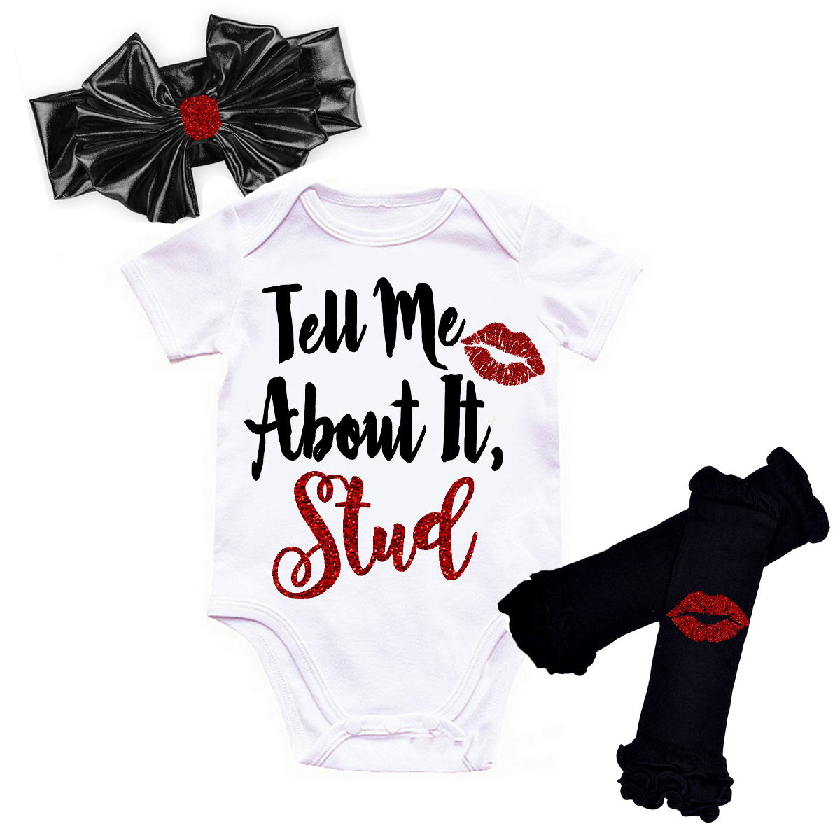 Black and Red Glitter Tell Me About It Stud Grease Baby Girl Outfit