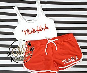 Cute Thick-Fil-A Summer Shorts Outfit Set For Juniors and Women