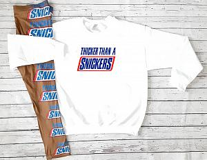 Thicker Than A Snickers Workout Outfit Set With Leggings For Juniors and Women