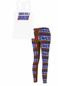 Thicker Than A Snickers Tank Workout Outfit Set With Leggings For Juniors and Women