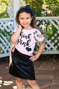 a72776fb5c72 ... 2 Pc Pink and Black Glitter Think Pink Grease Baby Girl Outfit ...