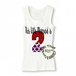 Red and Purple Little Mermaid Glitter Birthday Shirt