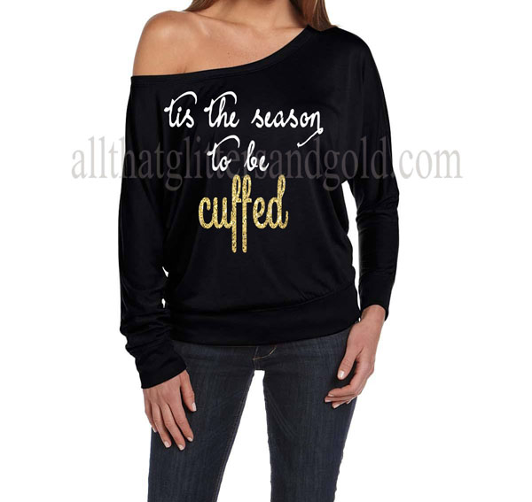 Cute Off The Shoulder Tis The Season To Be Cuffed Holiday Shirts For Women