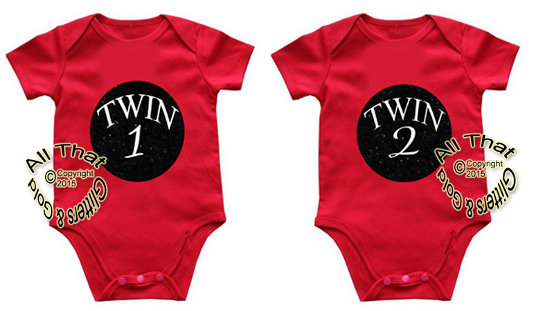 Black Glitter Twin 1 Twin 2 Boy and Girl Matching Shirts
