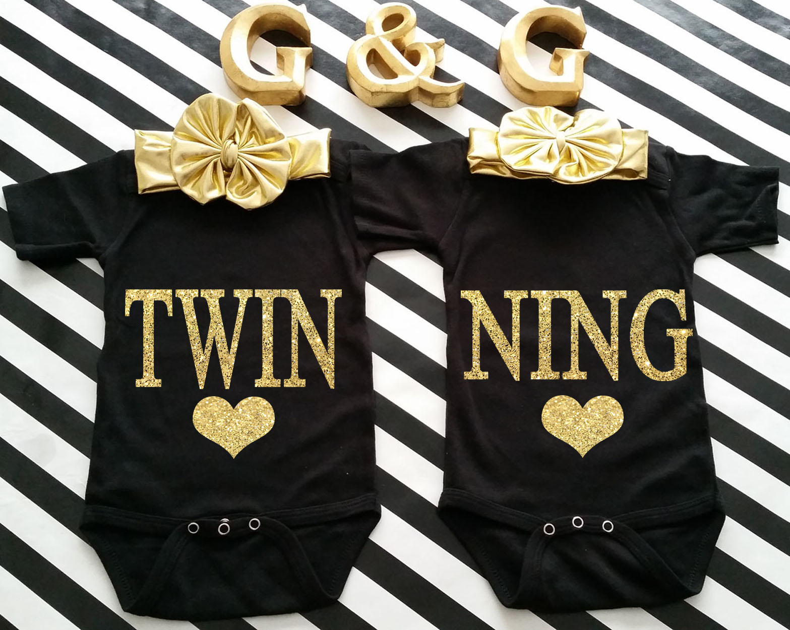 Black and Gold Glitter Twinning Boy and Girl Matching Shirts