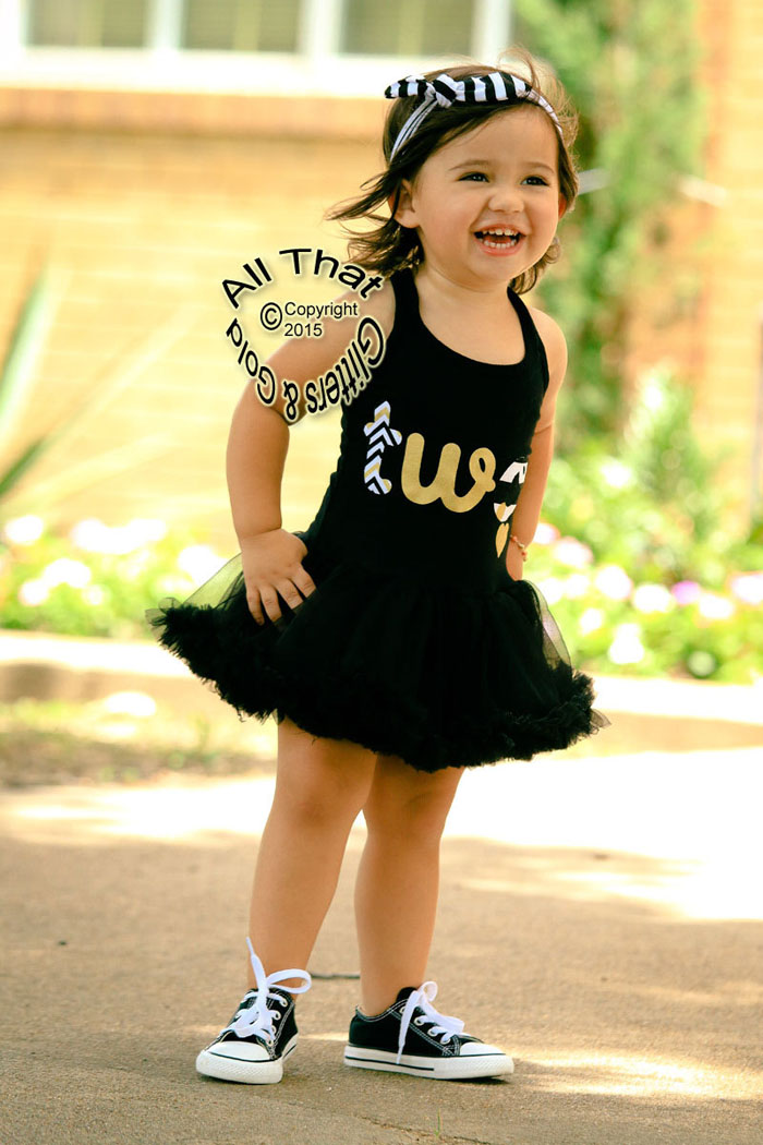 Glitter and Gold Chevron Two 2nd Birthday Tutu Dresses For Baby Girls