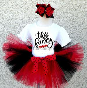 Black, Red and White Glitter Two Fancy Birthday Tutu Outfit For Two Year Olds
