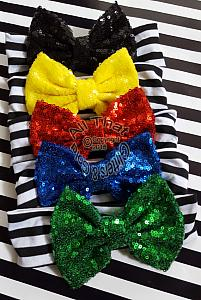 Sequin Uno Black and White Striped Baby and Little Girls Big Bow Headbands