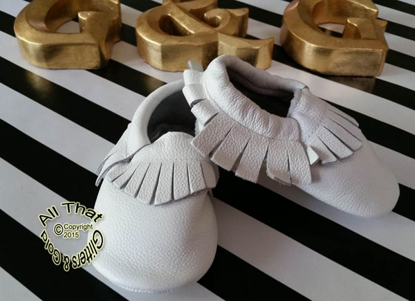 Leather White Soft Soled Baby Fringe  Moccasin Shoes