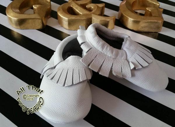 Leather White Soft Soled Baby Fringe  Moccasin Shoes