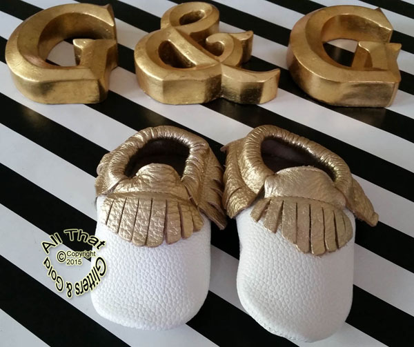 Leather White and Gold Soft Soled Baby Fringe  Moccasin Shoes