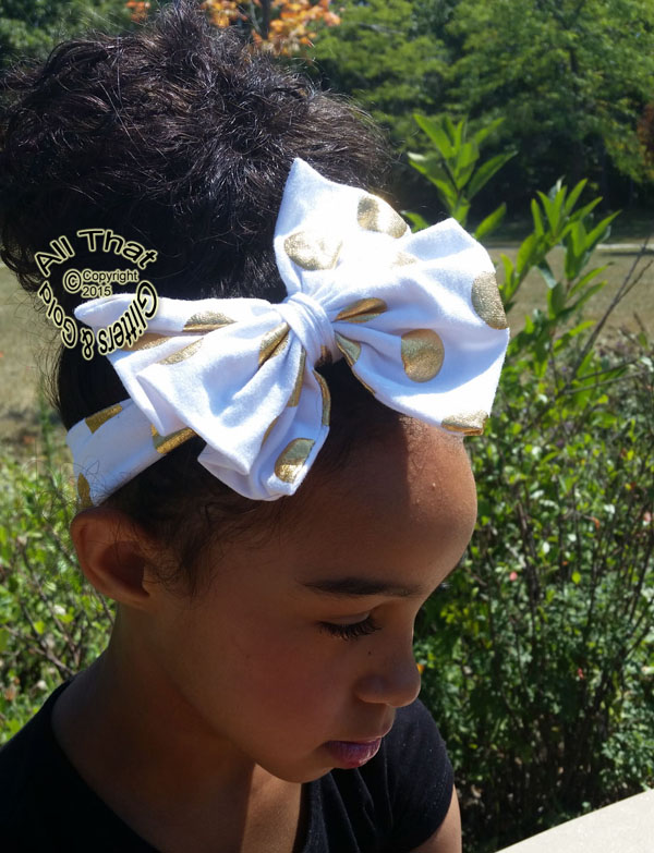 Metallic Gold Polka Dot Baby and Little Girls Big Bow Headbands