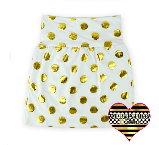 White and Gold Metallic Polka Dot Girls Skirts