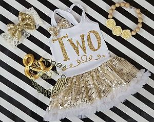White and Gold Sequin Two Year Old Birthday Tutu Dresses For Toddler Girls
