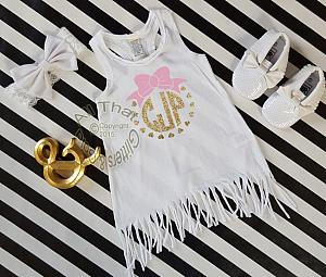 Monogrammed White, Pink and Gold Baby Girls and Little Girls Fringe Dress