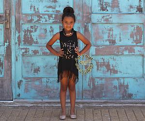 Wild and Free Metallic Leopard Print Baby Girls and Little Girls Fringe Dress