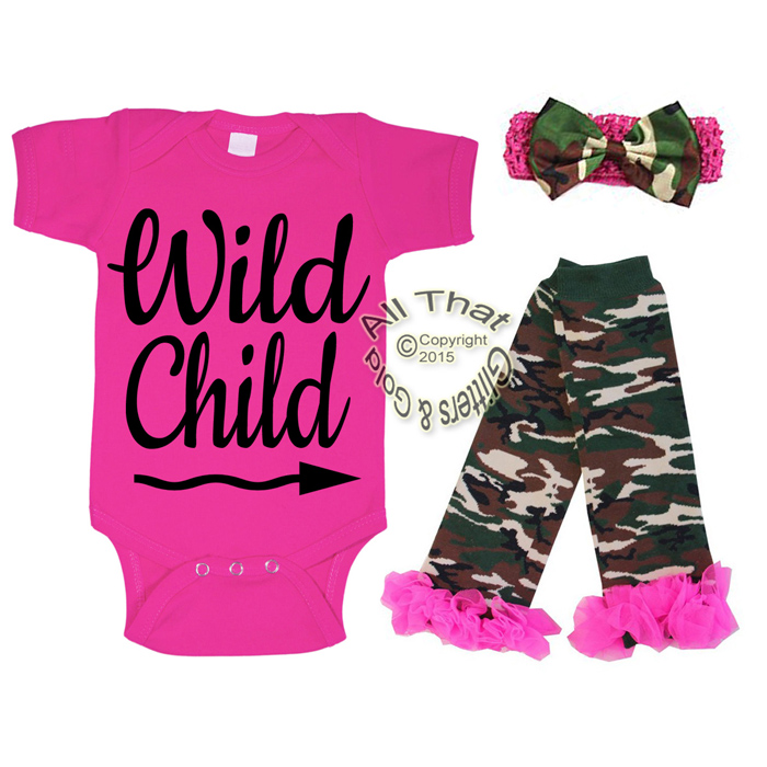 Hot Pink Camo Glitter Wild Child Baby Girl Outfit