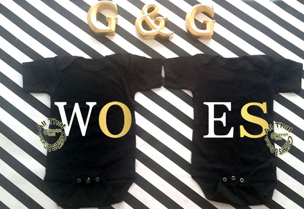 Black and Gold WOES Baby Boy and Little Girl Best Friend Shirts