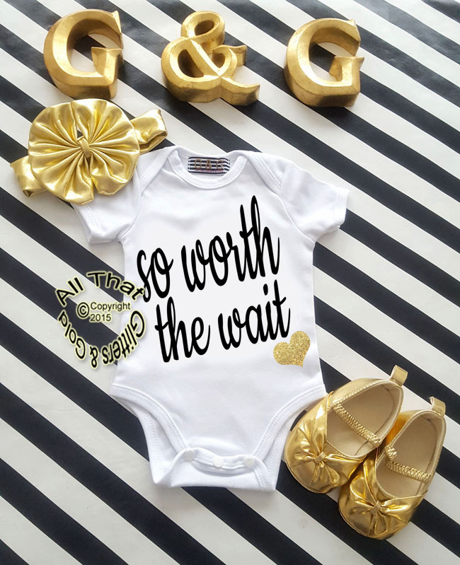 Black and Gold Glitter So Worth The Wait Baby Girl Coming Home Outfit