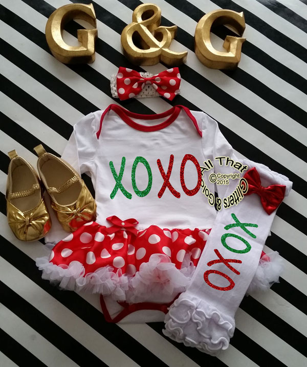 Cute 2 Piece XOXO Christmas Glitter Baby Girl Tutu Dress Outfit