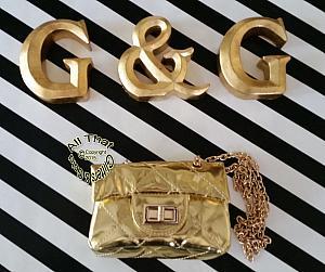 Little Girls Metallic Gold Handbag With Gold Chain Shoulder Strap